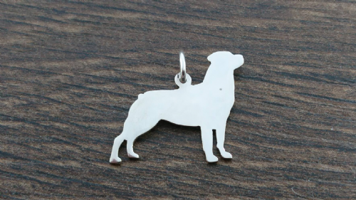Rottweiler full body  Charm silhouette solid sterling silver Handmade in the Uk